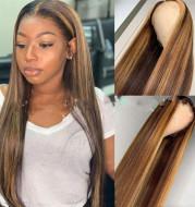 Colored Medium Length Straight Hair Brown-Gold Gradient Chemical Fiber Hair