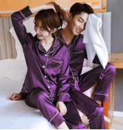 New Wedding Couple Pajamas Spring And Autumn Red Female Bridal Ice Silk Home Service Suit Natal Male Summer Bride