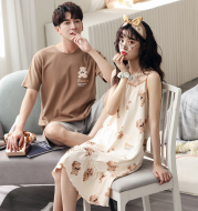 2 Sets Of Prices Summer Couple Pajamas, Cotton Loose Men And Women Cartoon Suits, Short-Sleeved Thin Home Clothes Plus Size