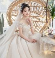 One-Shoulder Main Wedding Dress New Temperament Forest Super Fairy Dream Little Bride Han Trailing Starry Sky