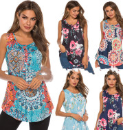 V-Neck Sleeveless Vest With Printed Buttons