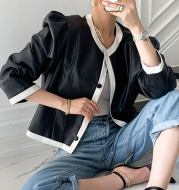 Korea Chic Personality Fashionable Round Neck Hit Color Edging Button Design Loose Long-Sleeved Leather Jacket Jacket Female