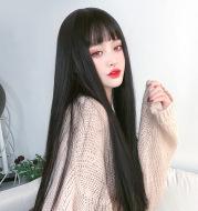 Realistic Natural Full Headgear Net Red Air Bangs Black Long Straight Hair