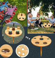 Outdoor Wine Table Wooden Portable Wine Picnic Table Wine Glass Racks Collapsible Racks Beach Snack Table Cheese Board