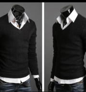 Spring And Autumn Foreign Trade Men'S Clothing New Style British Retro Style Self-Cultivation Sweater Men'S V-Neck Bottoming Shirt