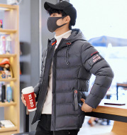 Winter New Style Cotton Coat Men'S Jacket Korean Style Slim Short Hooded