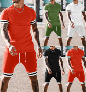 Men's Summer Stitching Short-sleeved Shorts Suit Sports Leisure Suit
