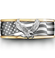 Electroplating Two-Tone Eagle Pattern Ring Popular Male Banquet Jewelry