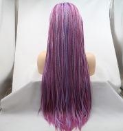 Fashionable Chemical Fiber Wig Female Deep Light Purple Long Straight Hair Small Braid High Temperature Silk Headgear