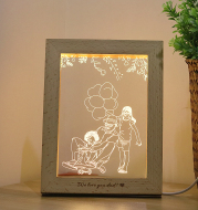 3D LED Photo & Text Custom Table Lamp Wood Photo Frame USB Photo Frame Night