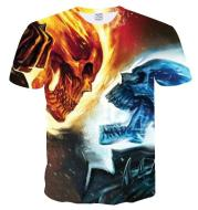 3D Effect Casual Short-Sleeved Youth Collarless T-Shirt
