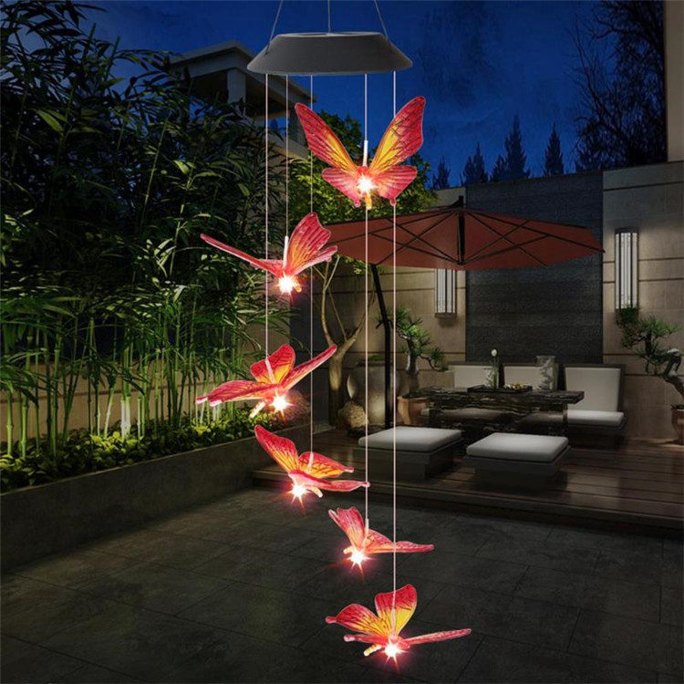 Solar Powered LED Butterfly Wind Chimes 10
