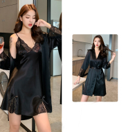 New Spring And Autumn Suspender Nightdress Robe Two-Piece Suit