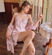 Sling Nightdress Women'S Summer Thin Section Can Be Worn Out Nightgown Two-Piece Sexy Pajamas Women 2021 New Ice Silk Spring And Summer