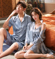 Couple Pajamas Women Thin Summer Ice Silk Nightgown Sexy Nightdress Spring And Autumn Men'S Short Sleeves
