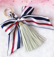 Ribbon Leather Big Tassel Keychain Pendant