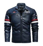 Leather Embroidered Colorblock Biker Jacket