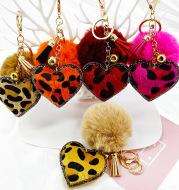 Velvet Diamond-Studded Leopard Pattern Love Style Hair Ball Keychain Pendant Bell Accessories Car Luggage Pendant
