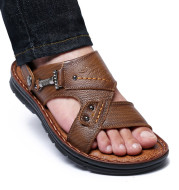 Large Size Sandals Men'S Leather Breathable Soft Leather Soft Sole Thick Bottom 37 Yards 45 Yards 46 Yards 47 Yards Beach Shoes Men