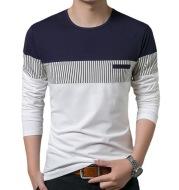 Men's Fake Pocket Slim Vertical Stripes Color Blocking Long Sleeve Casual T-Shirt