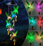 New Style Outdoor Solar Wind Chime Lamp Metal Bell Led Hummingbird Butterfly Eva Ball Wind Chime Garden Lamp Decoration