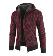 Sweater Men Plus Velvet Thick Knit Sweater Cardigan European Code Loose Color Matching Sweater Hooded Jacket