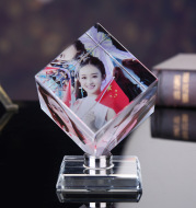 Pictures Frame Square Shaped Rotating Crystal Printing Photo Album Glass Wedding Souvenir Birthday Gifts