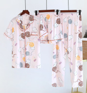 Pajamas Women'S Spring And Summer Cotton Short Sleeve Shorts Korean Cardigan Lapel Thin Home Clothes
