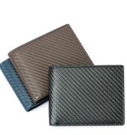 Carbon Fiber Pattern Anti-Theft Leather Men'S Wallet