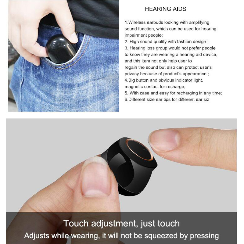 Hearing-Aid Elderly Sound Amplifier with Magnetic Charging Storage Case Bluetooth