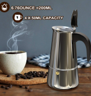 Italian Hand-Pushed Stainless Steel Household Italian Mocha Coffee Pot