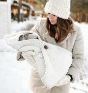 Multi-Purpose Stroller Thick Knitted Stroller Button Sleeping Bag Blanket