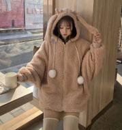 Sweater Women Autumn And Winter Korean Imitation Lamb Hair Loose Cute Ears Hooded Lace-Up Fur Ball Zipper Plush Jacket