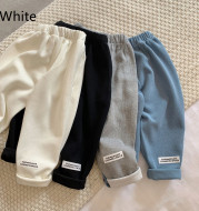 Boys And Girls Solid Color Casual Trousers Baby Trademark Straight Leg Pants Trend