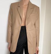 Elina Simple Notched PU Leather Blazers Women Fashion Office Lady Jackets Women Elegant Single Breasted Suits Female Ladies