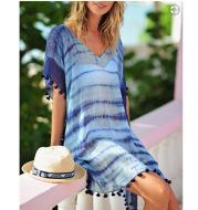 Chiffon Smudged Beach Blouse, Loose Plus Size Holiday Beach Skirt, Purple Ball Sun Protection Shirt