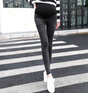 Maternity Pants, Wear Korean Style Washed Denim Trousers Outside In Autumn