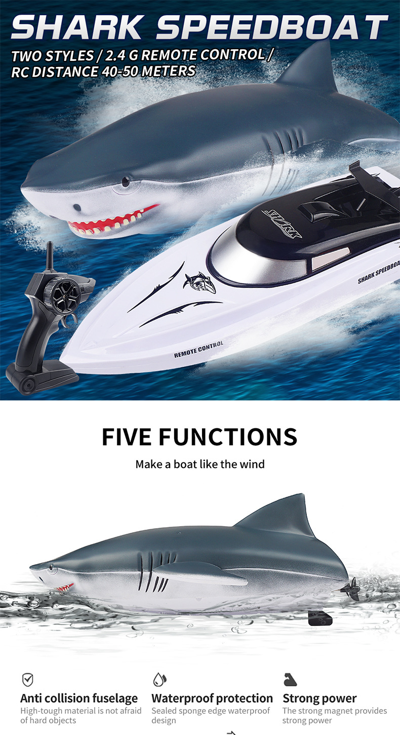 Electric RC Shark Speed Boat 6