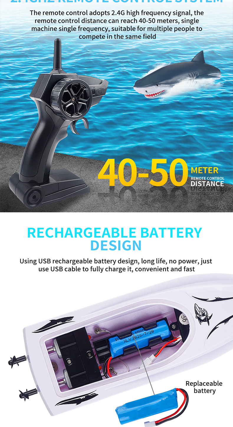 Electric RC Shark Speed Boat 7