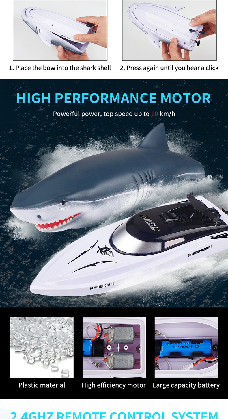 Electric RC Shark Speed Boat 8