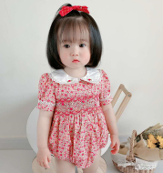 Girls' Pastoral Style Small Floral Short-sleeved One-Piece Romper