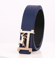 Horse gold buckle Real leather belt