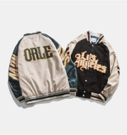 Japanese Baseball Collar Jacket Preppy Fashion Jacket With Contrasting Colors And Patchwork Letters