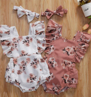 Girls' One-Piece Floral Fly-Sleeve Backless Triangle