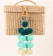 Hand-woven Bag Chain Color Plush Pendant Ethnic Wind Bag Hair Ball Pendant