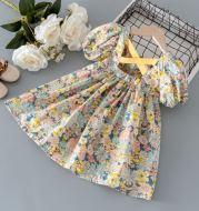 Girls Bubble Short Sleeve Floral Dress