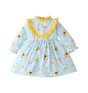 Sunflower Print Long Sleeve Princess Dress Cute Long Sleeve Dress For Girls