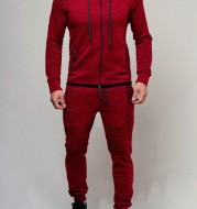 2020 New Men'S Outdoor Sports Leisure Sweater Solid Color Cardigan Top Set