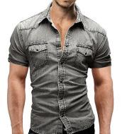 Men Denim Short-sleeved Slim Shirt Shirt