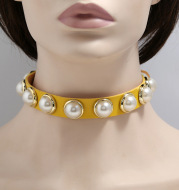 Leather Choker Collar For Women Gothic Punk Chain